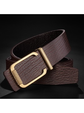 All-Match Plate Buckle Alloy Leather Men's Belts