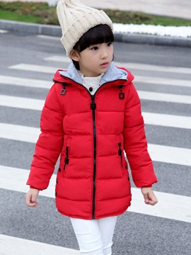 Fashion Plain Hooded Thicken Winter Cotton-Padded Girls Outerwear
