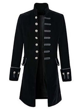 Tidebuy Stand Collar Single-Breasted Mid-Length Men's Trench Coat