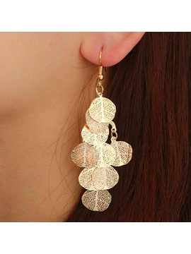 Irregular Hollow-Out Leaf Shape Multi-Layer Drop Earrings