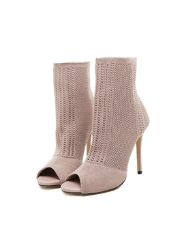 Hollow Peep Toe Stiletto Heel Women's Boots
