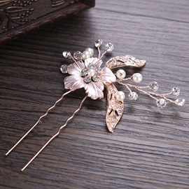 Petal Shaped E-plating Alloy Pearl Hair Stick