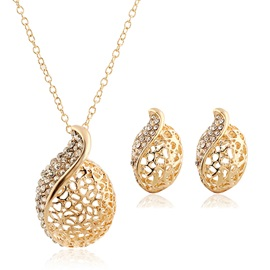 Circular Hollow Rhinestones Women Jewelry Set