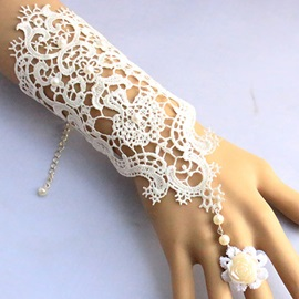 Vintage Flower Design Lace Bracelet with Ring