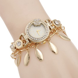 Golden Leaves Pendant Women Chain Watch