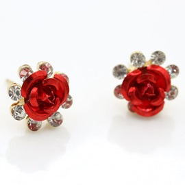 Rose Diamante Baking Varnish Korean Stud Earrings