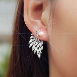 Full Rhinestone Angel's Wings Earrings