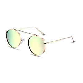 Round Retro Pink Lenses Women's Polarized Sunglasses