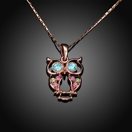 Colored Rhinestone Inlaid Owl Pendant Necklace