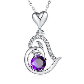 Heart-Shaped Pendant Ultra Violet Rhinestone Inlaid Necklace