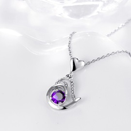 Heart-Shaped Pendant Purple Crystal Inlaid Necklace