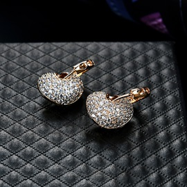 Heart Diamante Shiny Alloy Earrings