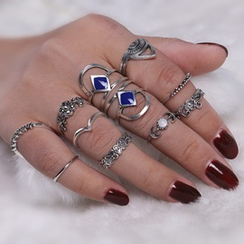 Blue Rhinestone Flower Carving Retro Tribe Pattern 11 Pieces Joint Knuckle Rings