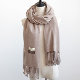 Simple Plain Cashmere Fall Winter Warm Long Tassel OL Classical Shawl Scarfs