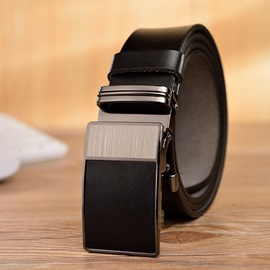 Polishing Metal Smooth Buckle Cowhide Business Men's Belts