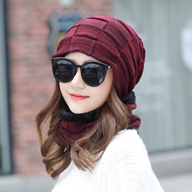 Simple Warm Winter Checkered Pattern Knitted Beanies Hats
