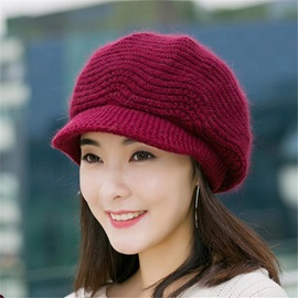 Winter Woolen Yarn Knitted Warm Women Octagonal Cap Hats