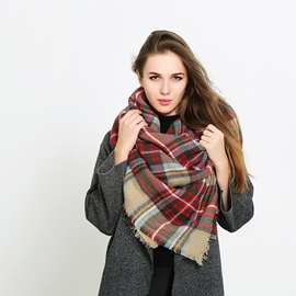 Multicolor Plaid Cashmere Shawl Scarfs