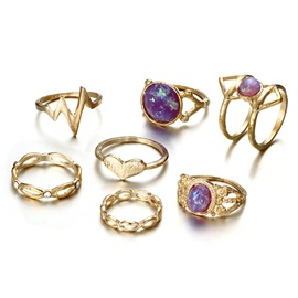 New In Purple Rhinestone 7-Pcs Joint Ring Set
