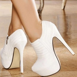 White Stiletto Heel Platform Ankle Boots