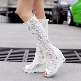 Lace Hollow Peep-Toe Wedge Sandals