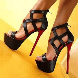 Color Block Cut-Out Stiletto Heel Sandals