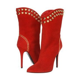 Suede Slip-On Rivet Red High Heel Women's Boots
