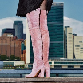 Fashion Velvet Chunky Heel Thigh High Boots