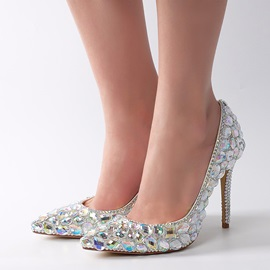 PU Rhinestone Slip-On Pointed Toe Wedding Shoes