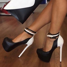 PU Round Toe Platform Stiletto Heel Women's Pumps