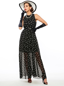 Bohemian Halter Polka Dots Maxi Dress