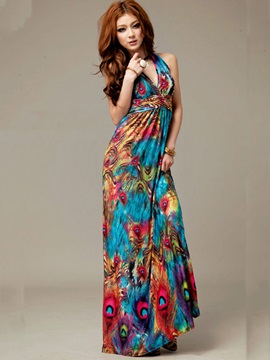 Elegant Retro Halter Maxi Dress