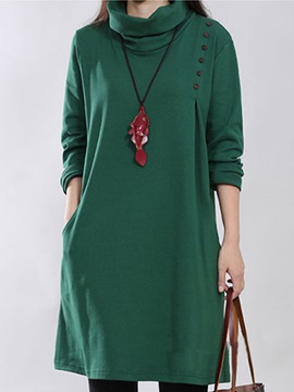 Pure Color Turtle Collar Casual Dress