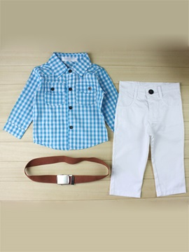 Boy's 2-Piece Plaid Shirt & Belt With Pants Set