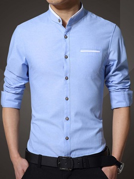Mock Pocket Single-Breasted Men's Slim Shirt