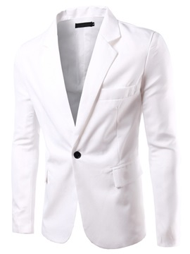 One Button Lapel V-Neck Solid Color Long Sleeve Slim Men's Blazer