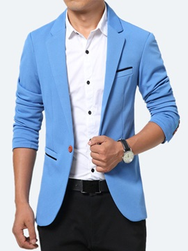 One Button Color Block Men's Lapel Blazer