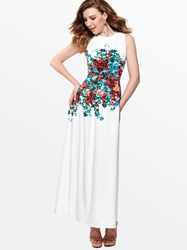 Floral Print Round Neck Sleeveless Slim Maxi Dress