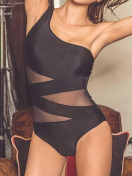 Sexy One Shoulder See-Through Monokini