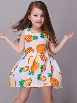 Pineapple Printing Sleeveless Girl's Dress