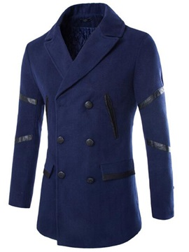 Tidebuy Double-Breasted Solid Color Slim Men's Coat