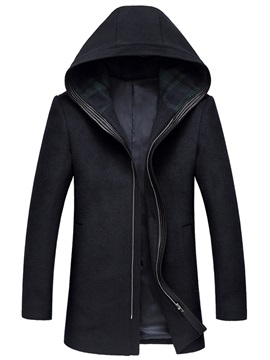 Tidebuy Plain Hooded Zipper Men's Mid-Length Coat