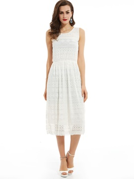 Plain Round Neck Sleeveless Lace Dress