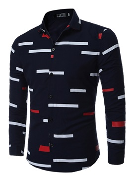 Color Block Stripe Lapel Men's Casual Shirt