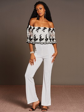 Slim Polyester Color Block Backless Embroidery Wide Legs Jumpsuits