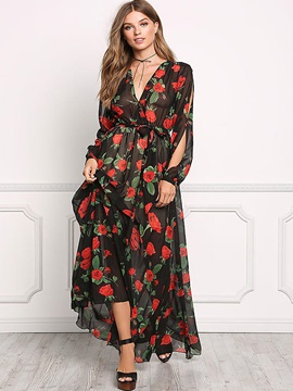 Amazing Floral Imprint Long Sleeve  Dress