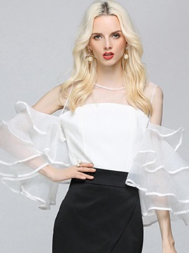 Stylish Mesh Ruffle Sleeve Blouse
