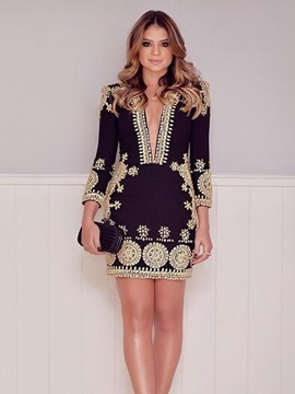 Amazing Long Sleeve Deep V-neck Short Day Dress