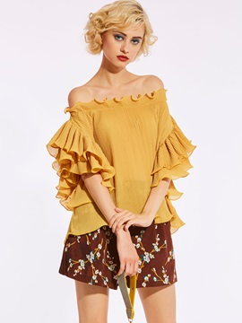 Slash Neck Backless Ruffle Sleeve Blouse