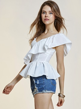 Slim Backless Falbala Patchwork Blouse